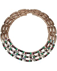 Steve Madden - Jeweled Square Link Design Choker Necklace (multicolor/yellow Gold-tone) Necklace - Lyst
