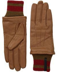 Calvin Klein - Leather Gloves W/striped Knit Cuff - Lyst