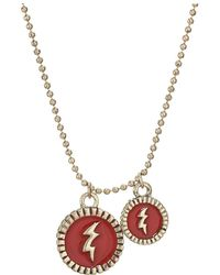 Steve Madden - Thunder Pendants Ball Chain Necklace (yellow Gold-tone/red) Necklace - Lyst