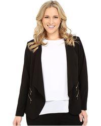 Calvin Klein - Plus Size 2 Zipper Jacket W/ Fly Away (black) Women's Jacket - Lyst
