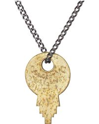 Miansai - Wise Lock Necklace (matte Brass) Necklace - Lyst