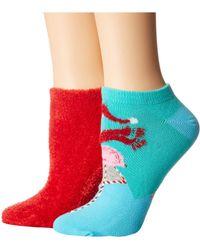 Hue - Footsie Ankle Socks Gift Box Set 2-pair Pack (black/palm Tree) Women's Crew Cut Socks Shoes - Lyst