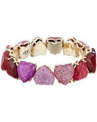 Betsey Johnson - Gold Tone Sparkle Heart Stretch Bracelet - Lyst