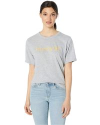 Hurley - One And Only Solid Perfect Short Sleeve Crew (grey Heather/melon Tint) Women's Clothing - Lyst