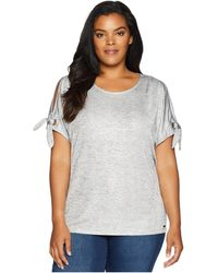 Calvin Klein - Plus Size Short Sleeve Tee W/ Tie Sleeves (metallic Silver) Women's Short Sleeve Pullover - Lyst