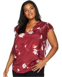 Lauren by Ralph Lauren - Plus Size Floral-print Ruffled Crepe Top (multi) Women's Clothing - Lyst