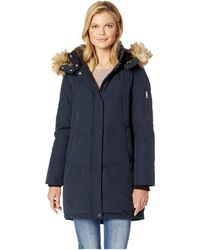 Vince Camuto - Heavy Weight Down With Faux Fur Hood And Trim R1011 (navy) Women's Coat - Lyst