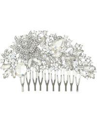Nina - Romantic Haircomb (rhodium/white Cz) Hair Accessories - Lyst