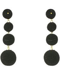 Kenneth Jay Lane | 3 Black Thread Small To Large Matte Wrapped Ball Clip Earrings W/ Dome Top | Lyst