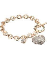 Guess - Toggle Link Puffy Heart Charm Bracelet (rose Gold) Bracelet - Lyst
