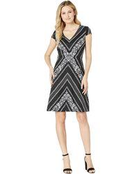 Adrianna Papell - Botanical Chevron Fit And Flare Dress (black/ivory Multi) Women's Dress - Lyst