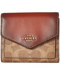 COACH - Small Wallet In Color Block Coated Canvas Signature (b4/tan Chalk) Wallet Handbags - Lyst