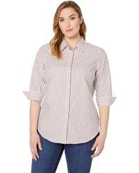 e5f2292ae11ce Lauren by Ralph Lauren - Plus Size No-iron Striped Button Down Shirt (white