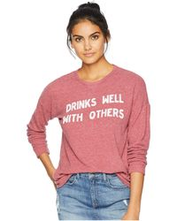 The Original Retro Brand - Drinks Well With Others Super Soft Haaci Pullover (dark Red) Women's Clothing - Lyst