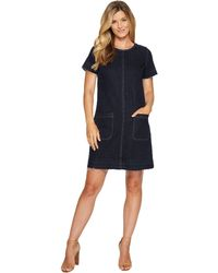 Two By Vince Camuto - Short Sleeve Indigo Denim Release Hem Shift Dress (dark Authentic) Women's Dress - Lyst