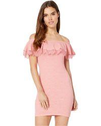 48e1da57812 BCBGeneration - Off The Shoulder Ruffle Bodycon Dress (peach) Women s Dress  - Lyst