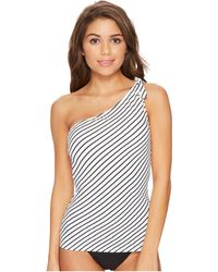 Lauren by Ralph Lauren - City Stripe Asymmetrical Tie One Shoulder Tankini Top - Lyst