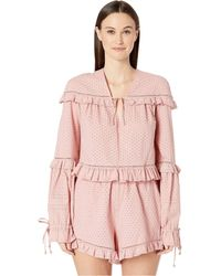 Jonathan Simkhai - Embroidered Ruffle Long Sleeve Top (rose) Women's Swimwear - Lyst
