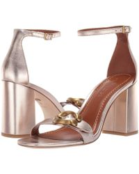 COACH - Maya 85 Mm. Sandal With Signature Buckle (champagne Metallic Leather) Women's Sandals - Lyst