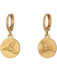 Vince Camuto - Hummingbird Charm Museum Hoop Earrings - Lyst