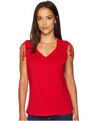 Lauren by Ralph Lauren - Petite Tassel-tie Jersey Top (lipstick Red) Women's Clothing - Lyst