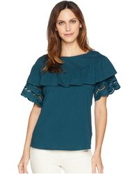 B Collection By Bobeau - Brynlee Lace Trim Tee - Lyst