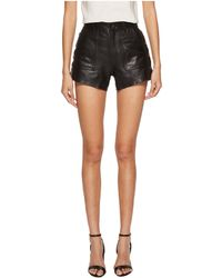 The Kooples - Leather Shorts With Button Details - Lyst