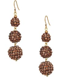Kenneth Jay Lane | Bronze 3 Ball Drop Fishhook Earrings | Lyst