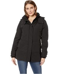 Vince Camuto - Short Down With Removable Hood And Knit Collar R1811 (black) Women's Coat - Lyst