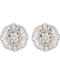 Nina - Sunburst Clip Earrings (palladium/white Cz) Earring - Lyst