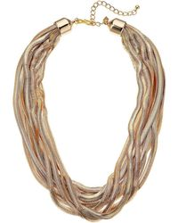 Kenneth Jay Lane - 10 Row Gold Snake Chain Necklace - Lyst