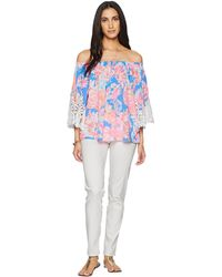 baec7b51dc384 Lilly Pulitzer - Zaylee Top (bennet Blue Bay Dreamin) Women s Clothing -  Lyst