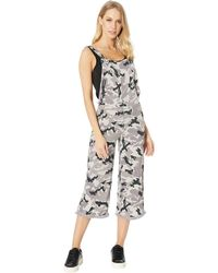 Chaser - Heirloom Woven Cross-back Cropped Overalls (flax Cloud Wash) Women's Jumpsuit & Rompers One Piece - Lyst