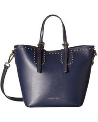 Calvin Klein - Novelty Studded Small Tote (black/gold) Tote Handbags - Lyst