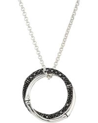 John Hardy - Bamboo Lava Medium Interlink Pendant On Mini Rolo Chain Necklace With Black Sapphire (silver) Necklace - Lyst