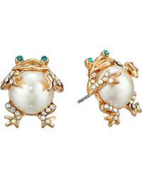 Betsey Johnson - Pearl Critters Frog Stud Earrings (pearl) Earring - Lyst