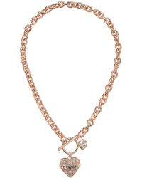 Guess - Pave Heart With Logo Banner Pendant Toggle Necklace (rose Gold) Necklace - Lyst