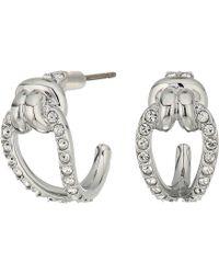 Swarovski - Small Lifelong Hoop Pierced Earrings (rhodium Plating/white) Earring - Lyst