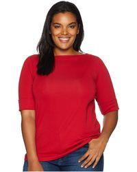 Lauren by Ralph Lauren - Plus Size Cotton Boat Neck Top (crisp Cerise) Women's Clothing - Lyst