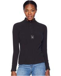Spyder - Shimmer Zip T-neck Top (white/white) Women's Long Sleeve Pullover - Lyst