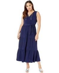 a0c4da42b2c MICHAEL Michael Kors - Plus Size Chain Lace-up Maxi Dress (true Navy)