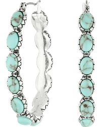 Lucky Brand | Oblong Turquoise Inlay Hoop Earring | Lyst