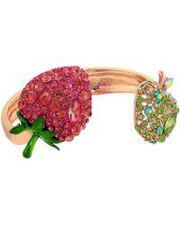 Betsey Johnson - Strawberry And Apple Hinge Bracelet (pink/green) Bracelet - Lyst