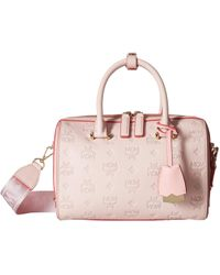 2a7d853c09d812 MCM - Essential Monogrammed Leather Boston 23 (lotus) Satchel Handbags -  Lyst