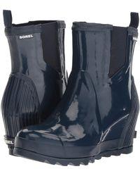 Sorel - Joan Rain Wedge Chelsea Gloss (collegiate Navy/ Atmosphere) Women's Waterproof Boots - Lyst