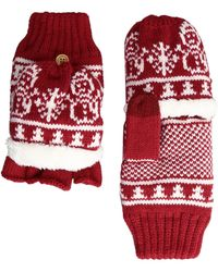 San Diego Hat Company - Kng3476 Snowflake Pop Over Gloves (red) Extreme Cold Weather Gloves - Lyst