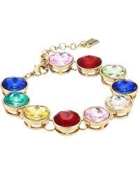 Steve Madden - Casted Stone Link Bracelet (blue/yellow Gold-tone) Bracelet - Lyst