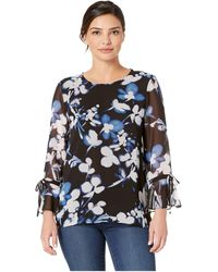 Calvin Klein - Printed Tie Top With Flare Sleeve (black/blue Multi) Women's Clothing - Lyst
