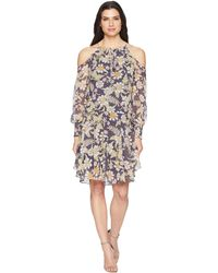Donna Morgan - Long Sleeve Printed Chiffon With Cold Shoulder And Drop Waist - Lyst