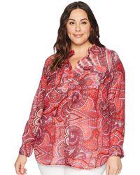 Lauren by Ralph Lauren - Plus Size Silk Cotton Voile Long Sleeve Shirt (red Multi) Women's Clothing - Lyst